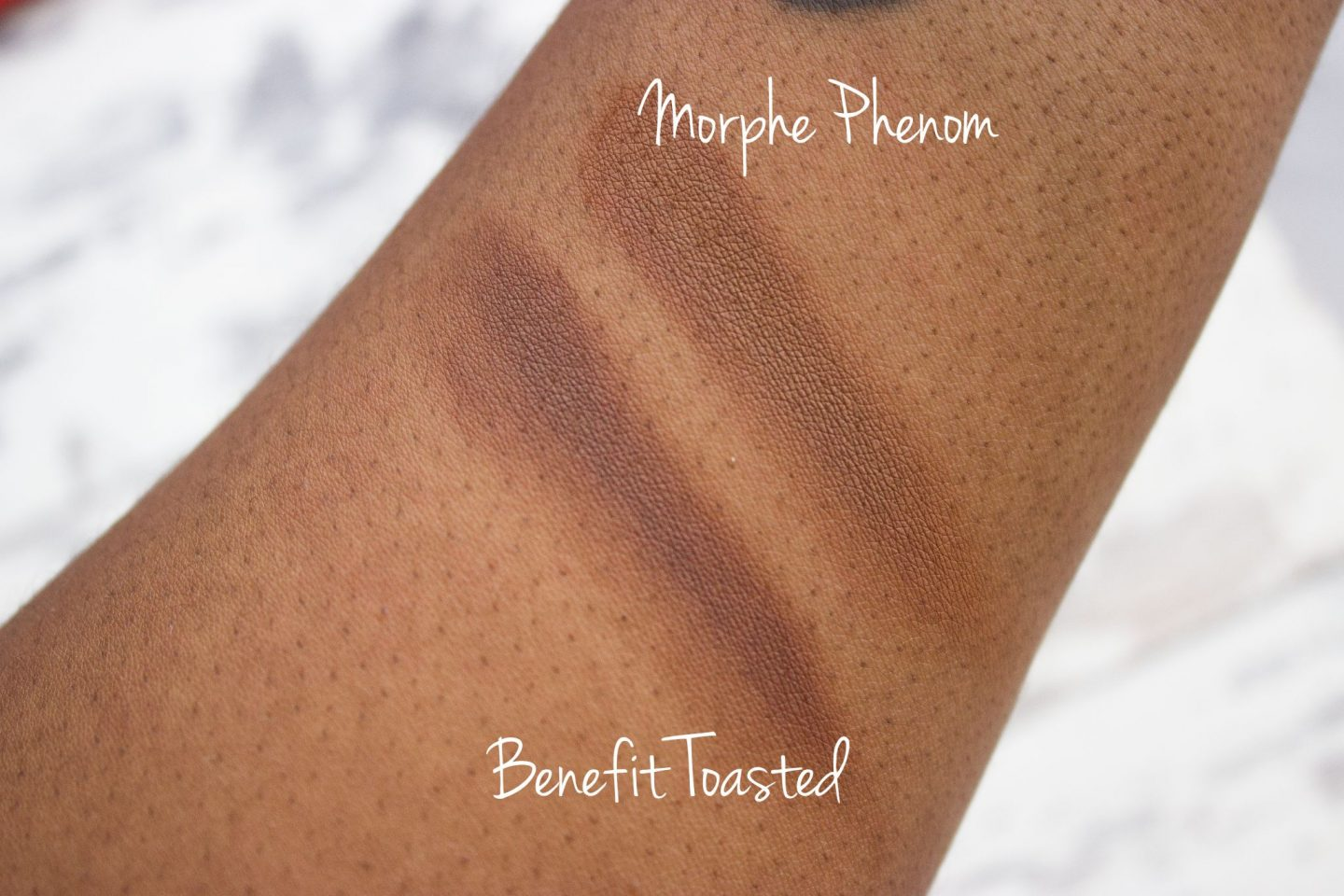 Benefit Hoola Toasted Mophe Phenom Swatches Compare Dupe Dark Skin